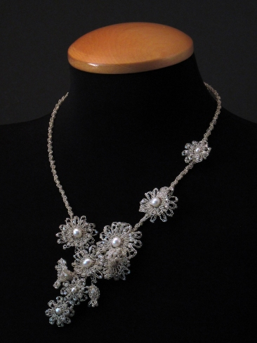 Crocheted silver floral necklace with white pearls and delica beads